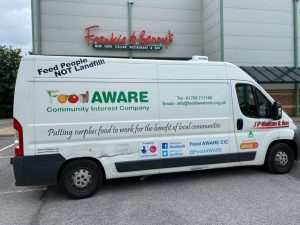 FoodAWARE collecting surplus food from Frankie and Bennys in Barnsley