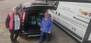 Sue from Maltby Foodbank being supported by FoodAWARE CIC